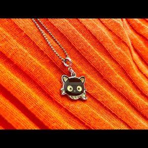 Sanrio Chococat cat pendant brown silver necklace